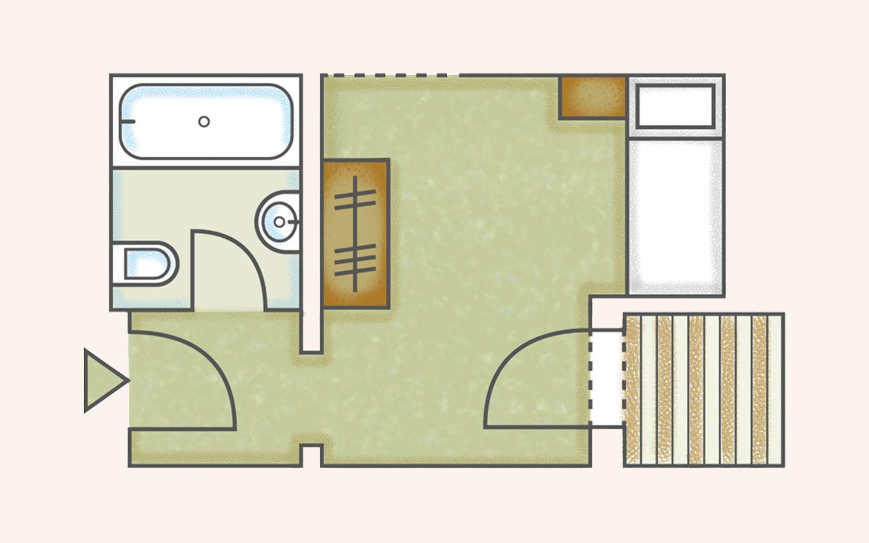 Einzelzimmer - Abweichungen zu Zimmerskizzen möglich